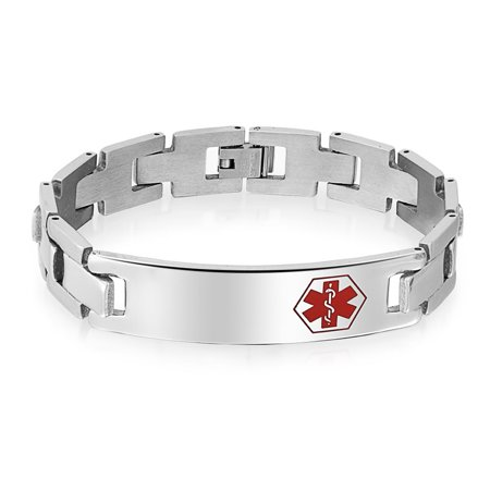 American Medical Id Jewelry - Bling Jewelry Mens Medical Alert ID Tag Steel Identification Bracelet 8in
