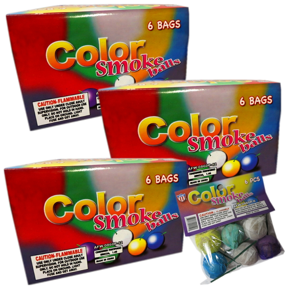 Premium Color Smoke Balls for Photography & Film, Assorted Colors, 216 Pieces (3 Full Display Cases) + FREE Surprise Gift!