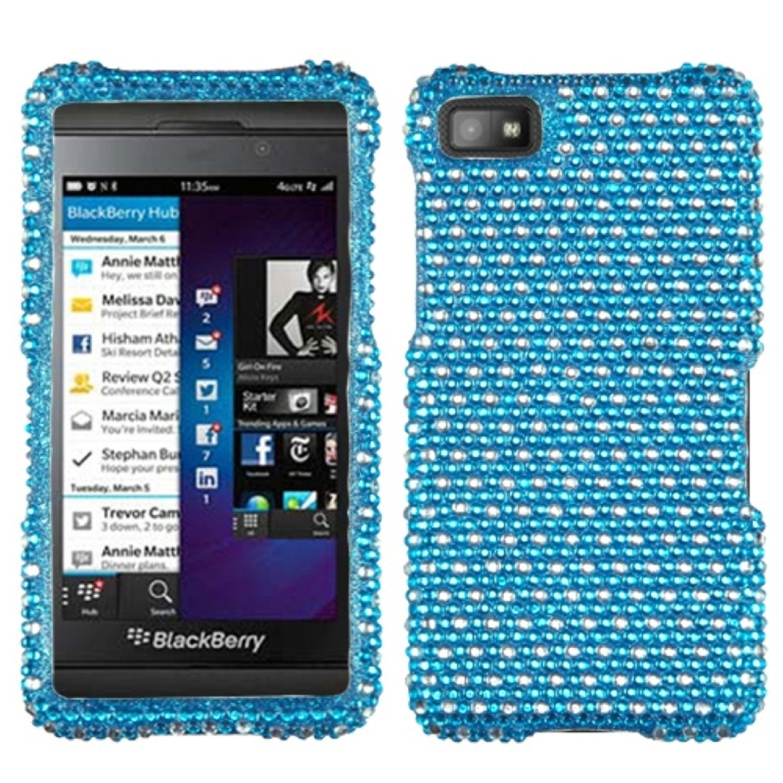 Insten Dots(Blue/white) Diamante Phone Case for BLACKBERRY: Z10