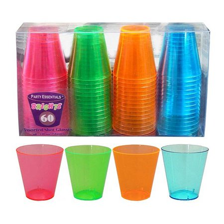 1 - Party Essentials 2 Oz. Plastic Shot Glasses - Assorted Neons Box Set 60 ct. ()