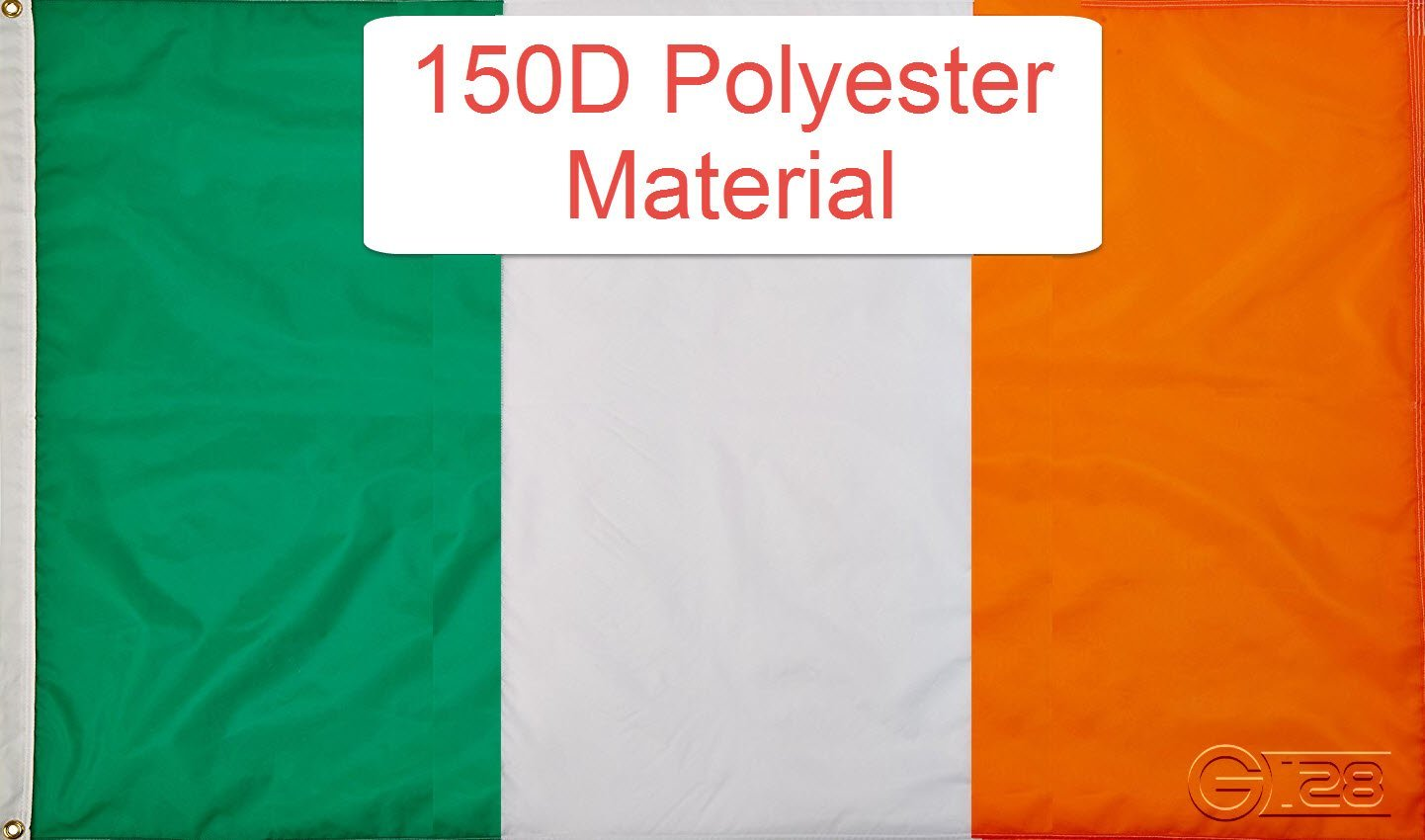 G128?- Irish Flag 3x5 ft Printed Brass Grommets 150D Quality Polyester Flag... by G128