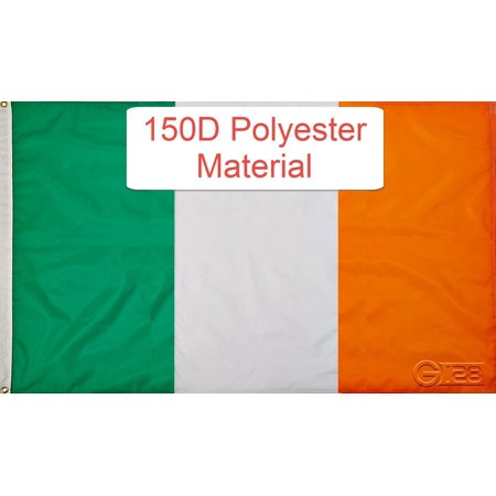 G128?- Irish Flag 3x5 ft Printed Brass Grommets 150D Quality Polyester Flag Indoor/Outdoor - Much Thicker and More Durable than 100D and 75D Polyester - Ireland Flags