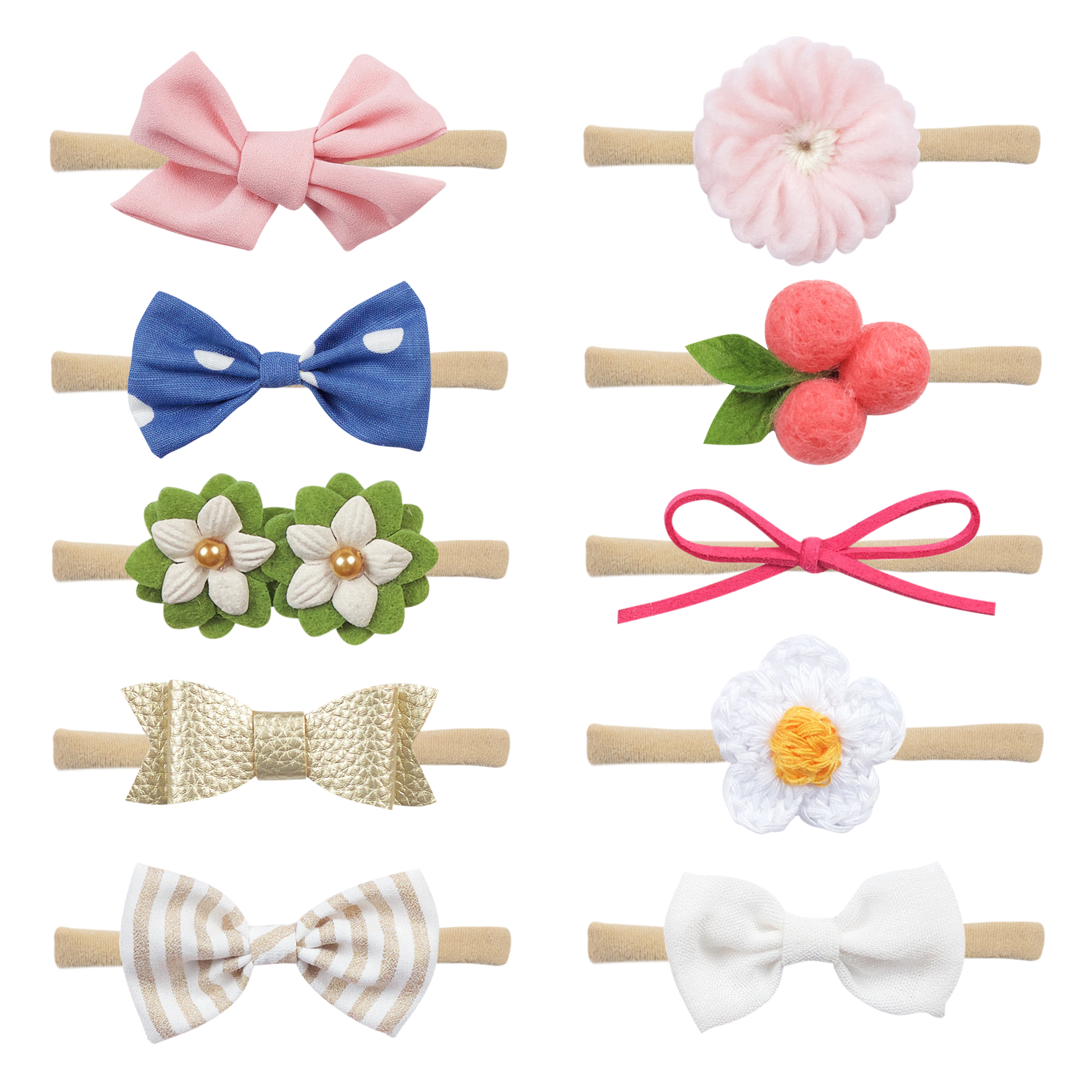 POKIENE 10 PCS Baby Headband Assorted Set Super Soft Baby Girl Hair Band Elastic Flowers Head Band for 0.5-3 Years Birthday Baby Shower Gift