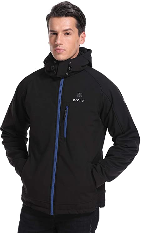 Mens Heated Jacket Soft Shell with Detachable Hood and Battery Pack Windproof Electric Coat Outerwear