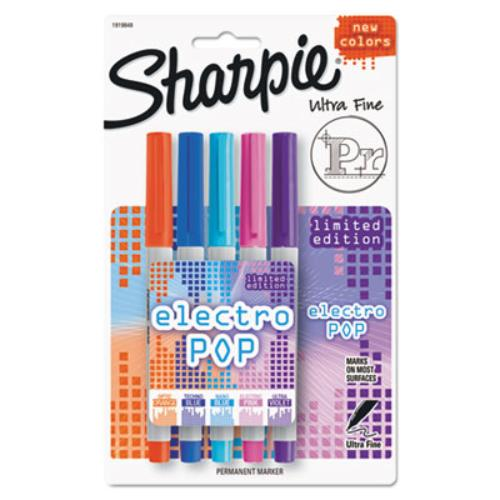 Sharpie Electro Pop Permanent Markers - Ultra Fine Marker Point Type - Ultra Violet, Optic Orange, Techno Blue, Nano Blue, Electric Pink - Barrel5 / Pack (1919848)