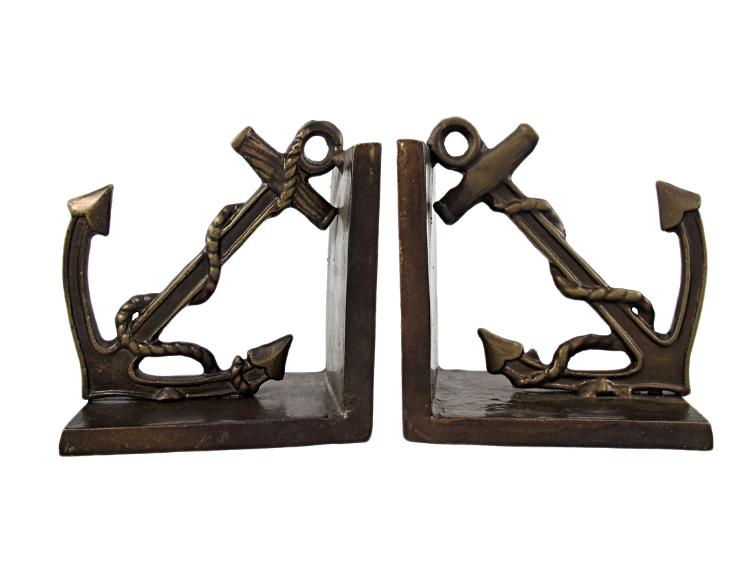 Antiqued Bronze Anchor Bookends by Moby Dick Specialties