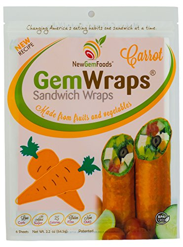 GemWraps Carrot Sandwich Wraps 6-SHeets by NewGemFoods