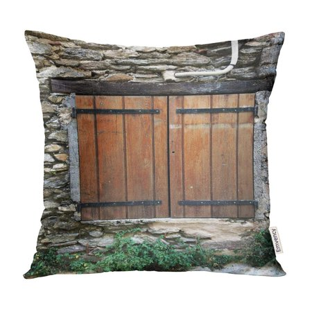 ECCOT Vintage Colored Wooden Window Shutters in Small Hilltop Village The South of France Old Pillow Case Pillow Cover 16x16