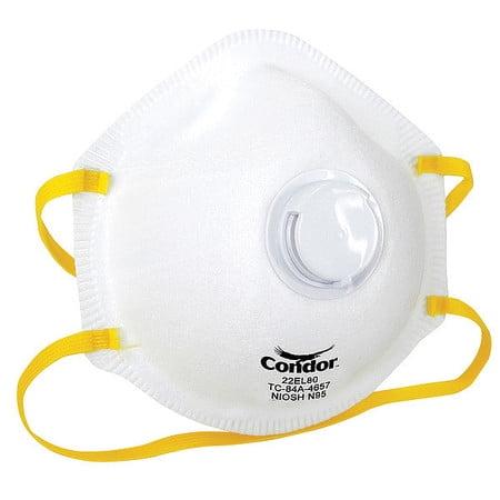 CONDOR Disposable Respirator,N95,Universal,PK10 22EL80