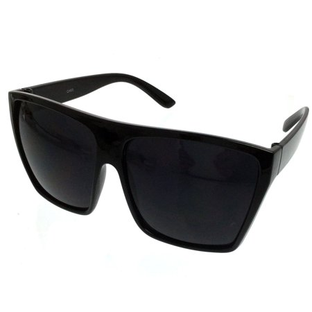 BLACK Oversized Large XL Big Sunglasses Kim Square Flat Dark Celebrity (Sunglasses Too Big)