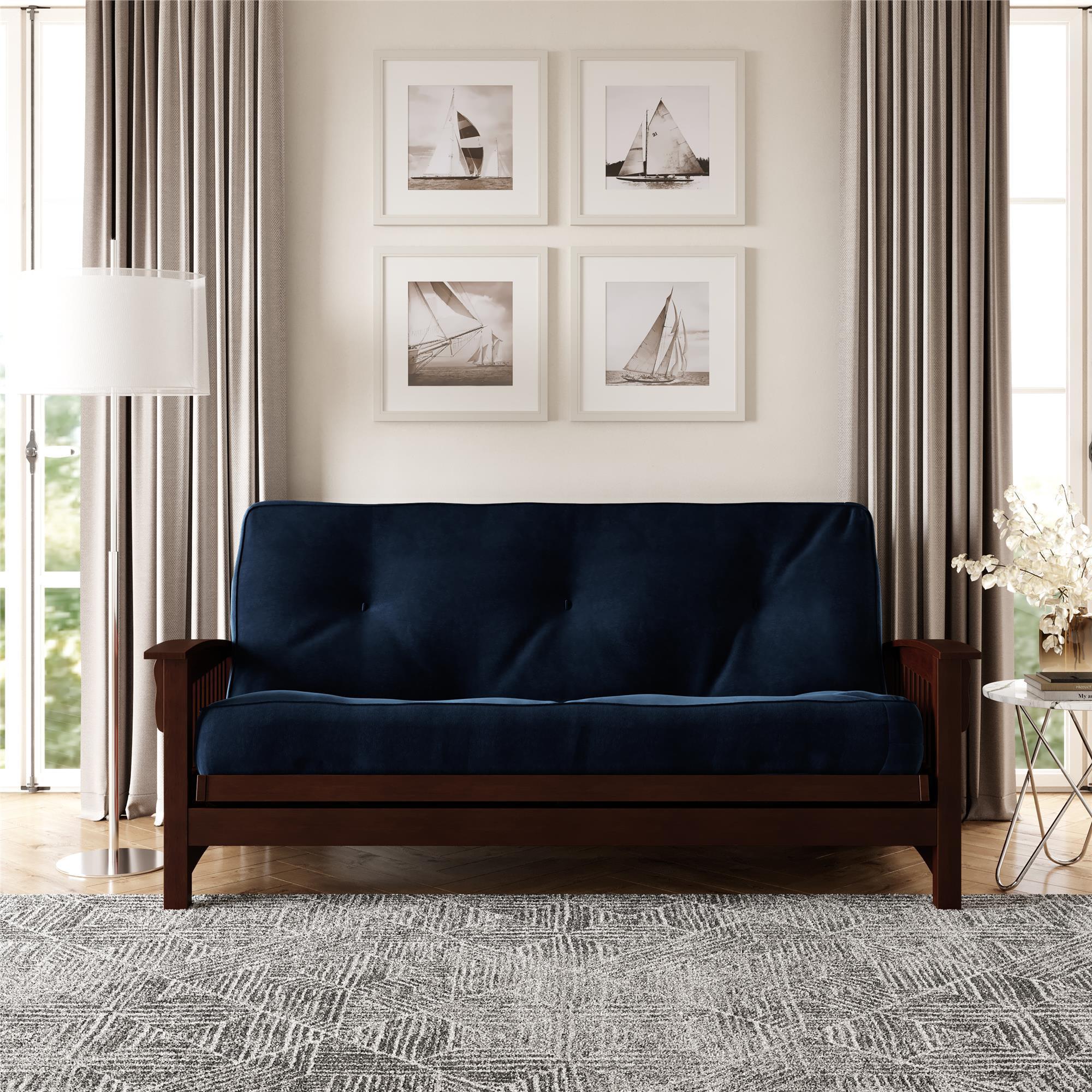 Dhp 8 Inch Independently Encased Coil Futon Mattress Blue Microfiber Walmart Com Walmart Com