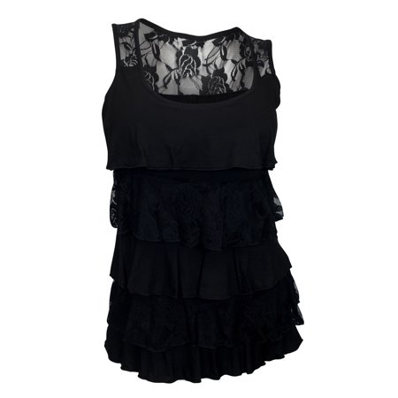 3d038065656 eVogues Apparel - eVogues Plus Size Tiered Ruffle Tank Top Black ...
