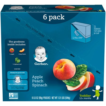 Gerber Toddler Apple Peach Spinach, 3.5 oz. Pouch (Pack of 6)