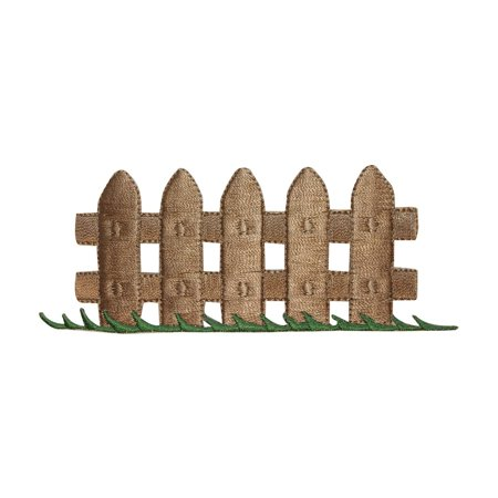 ID 3099 Picket Fence Patch Wooden Board Yard Embroidered Iron On Applique - Halloween Wooden Yard Art Patterns