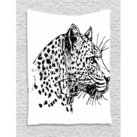 Sketchy Tapestry  Hand Drawn Jaguar Profile Wildlife Jungle Animal African Safari Theme Artwork  Wall Hanging For Bedroom Living Room Dorm Decor  40W X 60L Inches  Black White  By Ambesonne
