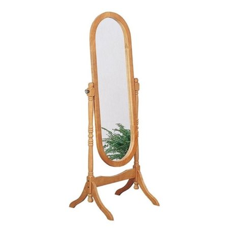 Bowery Hill Oval Cheval Floor Mirror In Oak