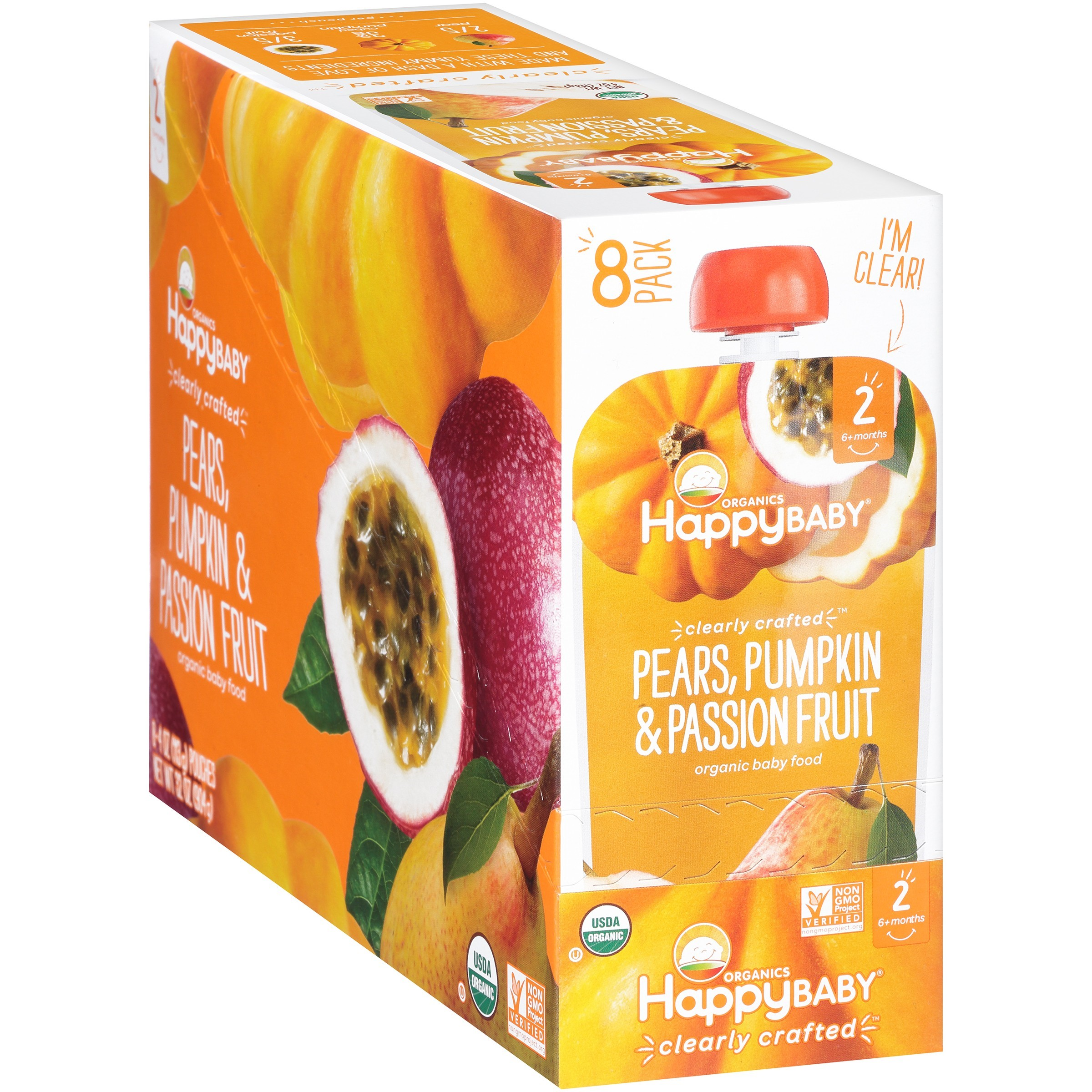 Happy Baby® Organics Pears, Pumpkin & Passion Fruit 4 oz. Pouches, 8 count