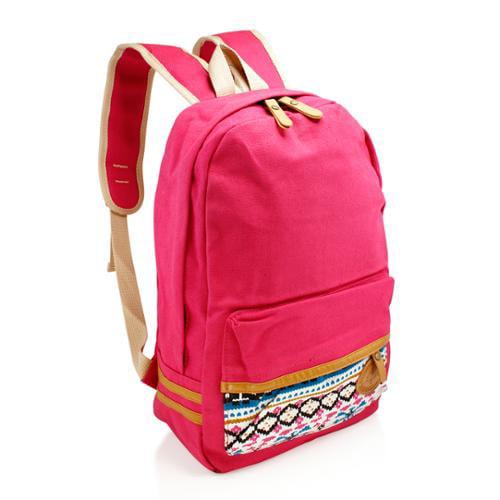 Fashion Women Canvas School Bag Girl Cute Satchel Travel School Backpack with Pattern Shoulder Rucksack - Hot Pink