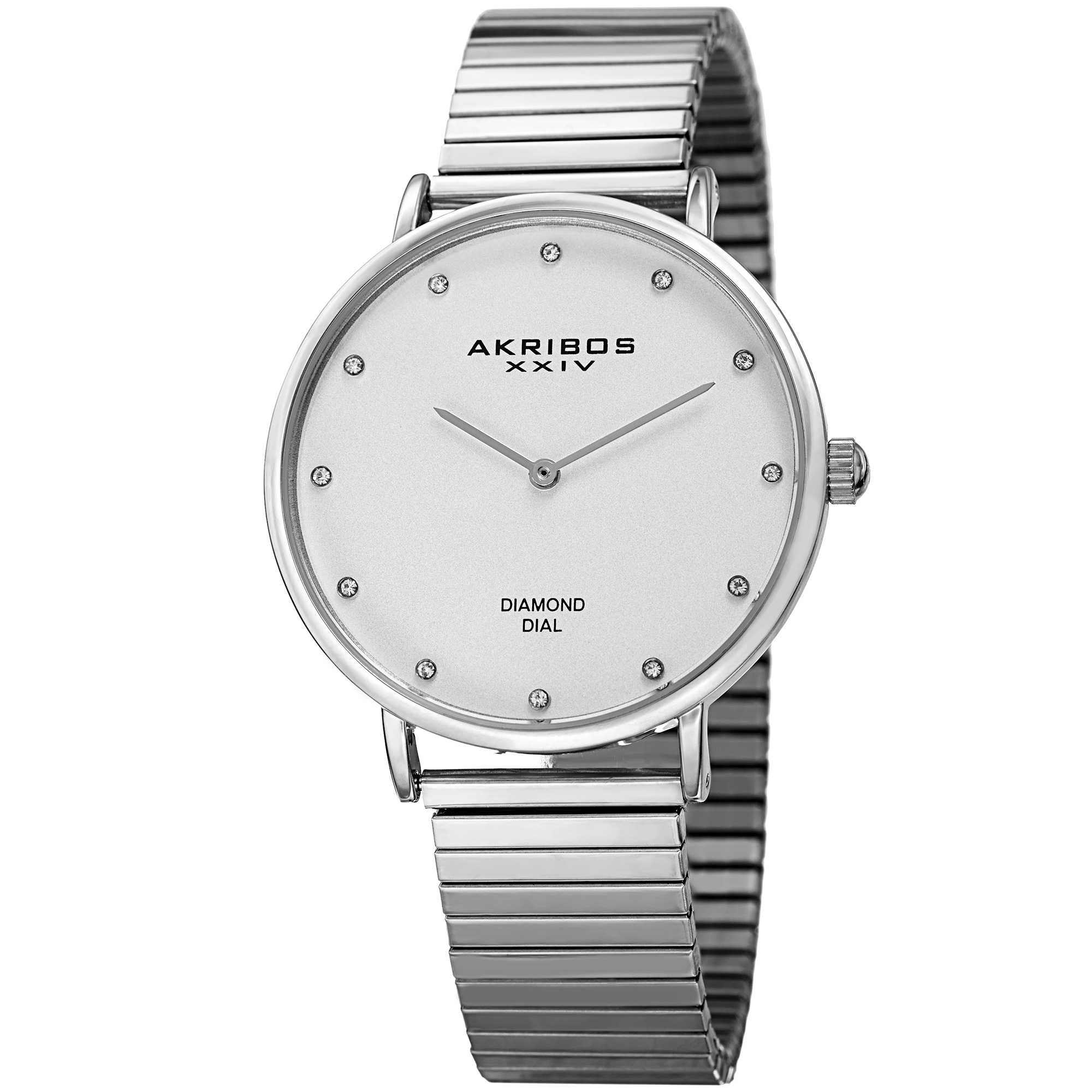 Akribos XXIV Women's Quartz Diamond Silver-Tone Bracelet Watch
