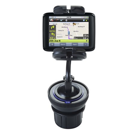 Unique Auto Cupholder and Suction Windshield Dual Purpose Mounting System for Navigon 2200T - Flexible Holder System Includes Two Mount Options (Navigon Gps Mount)