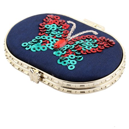 Oval Shaped Butterfly Pattern Button Closure Cosmetic Makeup Mirror Dark Blue
