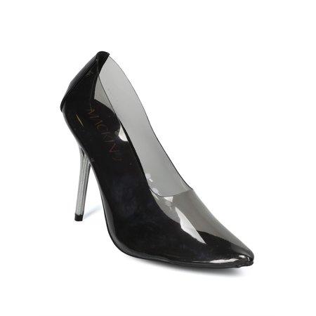 New Women PVC Pointy Toe Perspex Stiletto Pump - 17935 By Mackin J