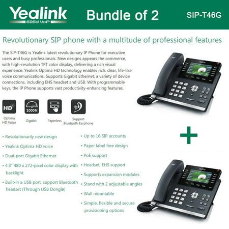 Yealink SIP-T46G Bundle of 2 IP phone Dual Gigabit 16 Line PoE 4.3 Color LCD USB (Enterprise Ip Phone)