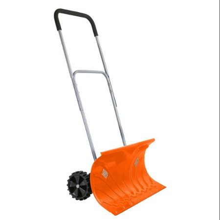 Ivation Heavy Duty Rolling Snow Pusher / Shovel 26 Wide with 6 Pivot Wheels & Adjustable Handle, Bright Orange