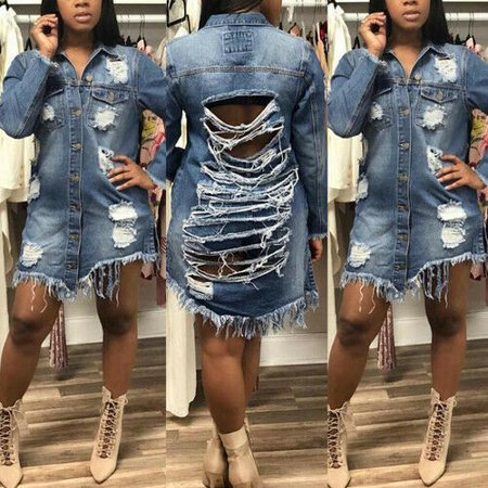 Women's Distressed Denim Ripped Jeans Denim Long Sleeve Jacket Coat Dress Outwear