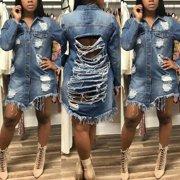 Women's Distressed Denim Ripped Jeans Denim Long Sleeve Jacket Coat Dress Outwear
