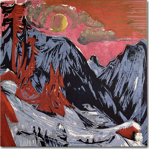 """Trademark Fine Art """"Mountains In Winter, 1919"""" Canvas Art by Ernst Kirchner"""