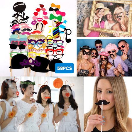 58-pack Masks Photo Booth Props Mustache On A Stick Birthday Wedding Party Holiday