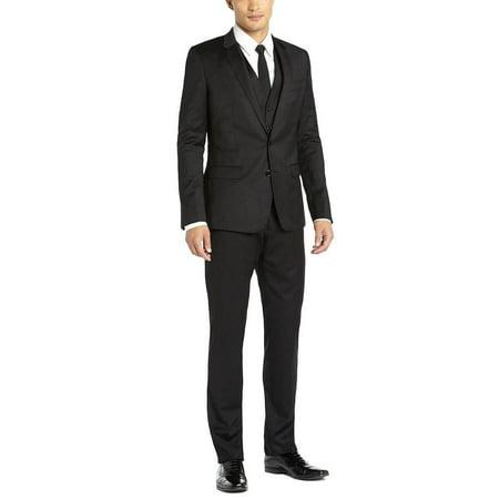 DTI GV Executive Italian Vested Men's Suit Wool 2 Button Jacket 3 Piece Tux Vest Black Black 3 Button Tuxedo