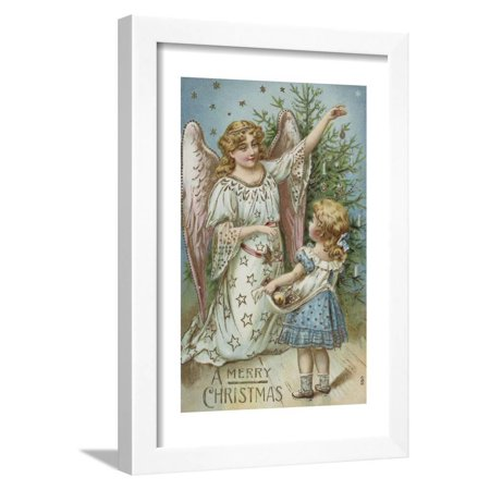 A Merry Christmas Postcard with an Angel and Little Girl Framed Print Wall (Angels Postcard)