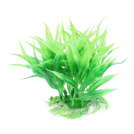 Aquarium Ceramic Base Plastic Emulational Scenery Ornament Water Plant Green (Emulational Water)