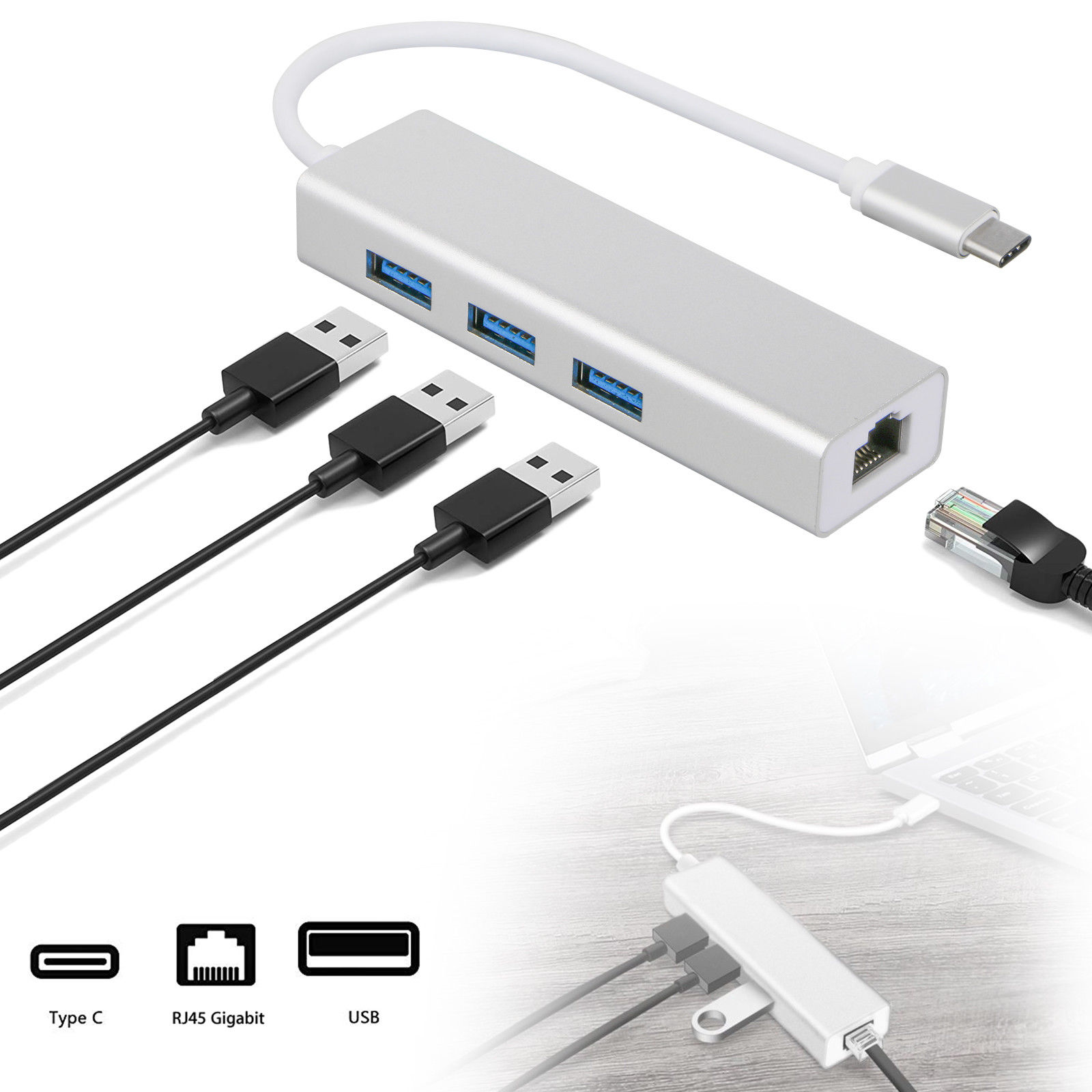 4in1 Type-C to 3 Port USB 3.0 HUB with RJ45 LAN Ethernet Network Adapter for MacBook Pro 2018/2017,New MacBook Air 2018,ChromeBook,Surface Go and More