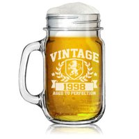 16oz Mason Jar Glass Mug w/ Handle Vintage Aged To Perfection 1998 21st Birthday