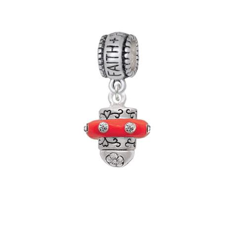 Crystal Red Spinner - Faith Hope Love Charm Bead