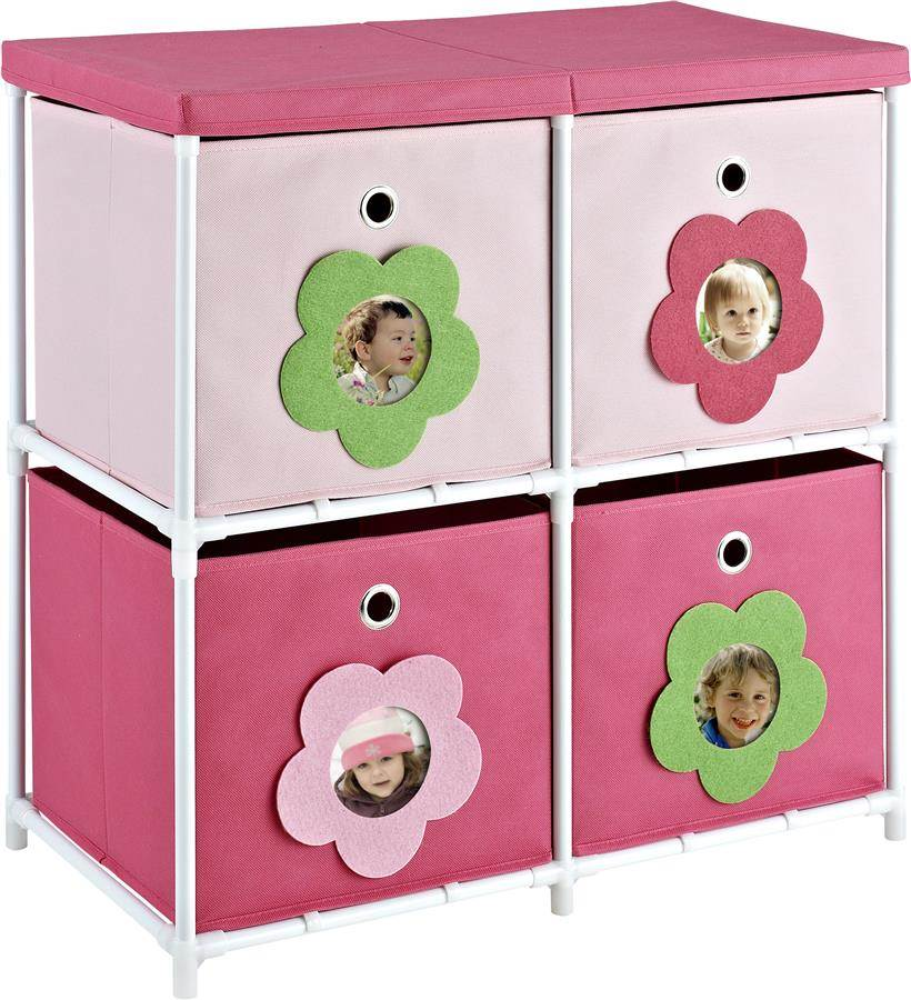 4-Bin Kids Storage Unit with Flower Theme in Pink