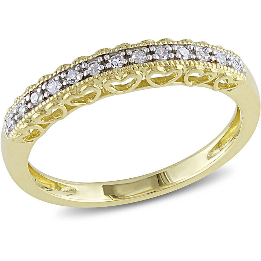 Miabella Diamond-Accent 10kt Yellow Gold Semi-Eternity Anniversary Ring