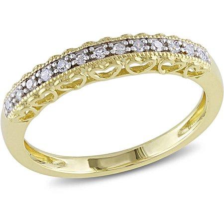 Diamond-Accent 10kt Yellow Gold Semi-Eternity Anniversary Ring