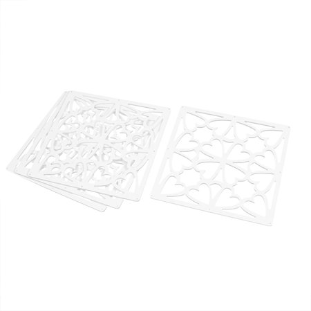 - Hall Heart Pattern Carved Window Divider Hanging Screen White 29cm x 29cm 4pcs