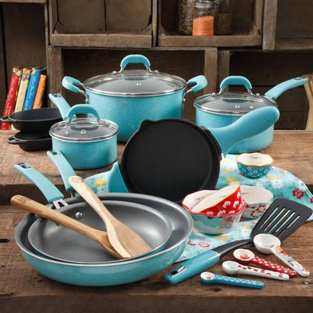 The Pioneer Woman Vintage Speckle 24 Piece Cookware Combo (5 Piece Roaster Set)