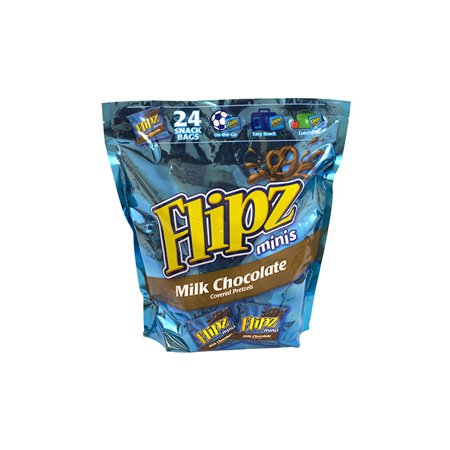 Flipz Mini Chocolate Covered Pretzels Snack Bags, 24 - Halloween Chocolate Pretzels