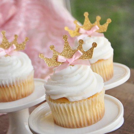 Tiara Cupcake Toppers 12CT. Ships in 1-3 Business Days. Pink and Gold Birthday Party Decorations. - Tiara Cupcake Toppers