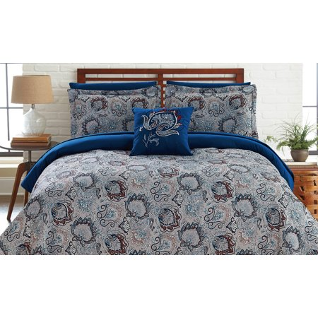 8 Piece Printed Reversible Complete Bed Set Corsicana - Queen ()