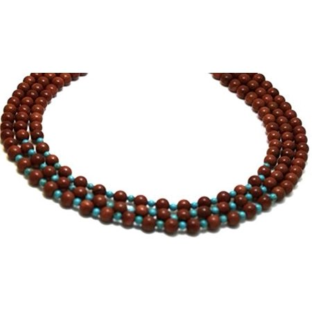 Long Three Strand (Gemstone Necklaces 3 strands Goldstone with Turquoise Beads Beaded Necklace 17