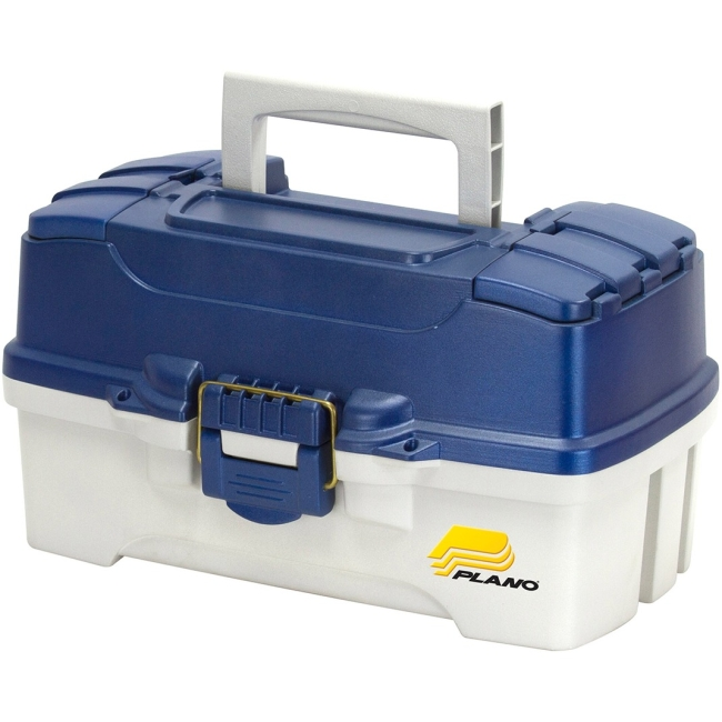 2 Tray Tackle Box w  dual top access Blue Metallic Off White by Plano Molding