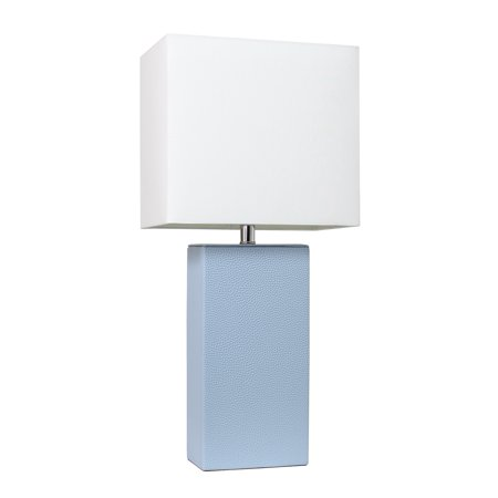 Elegant Designs Modern Leather Table Lamp with White Fabric Shade, Periwinkle - image 4 of 4