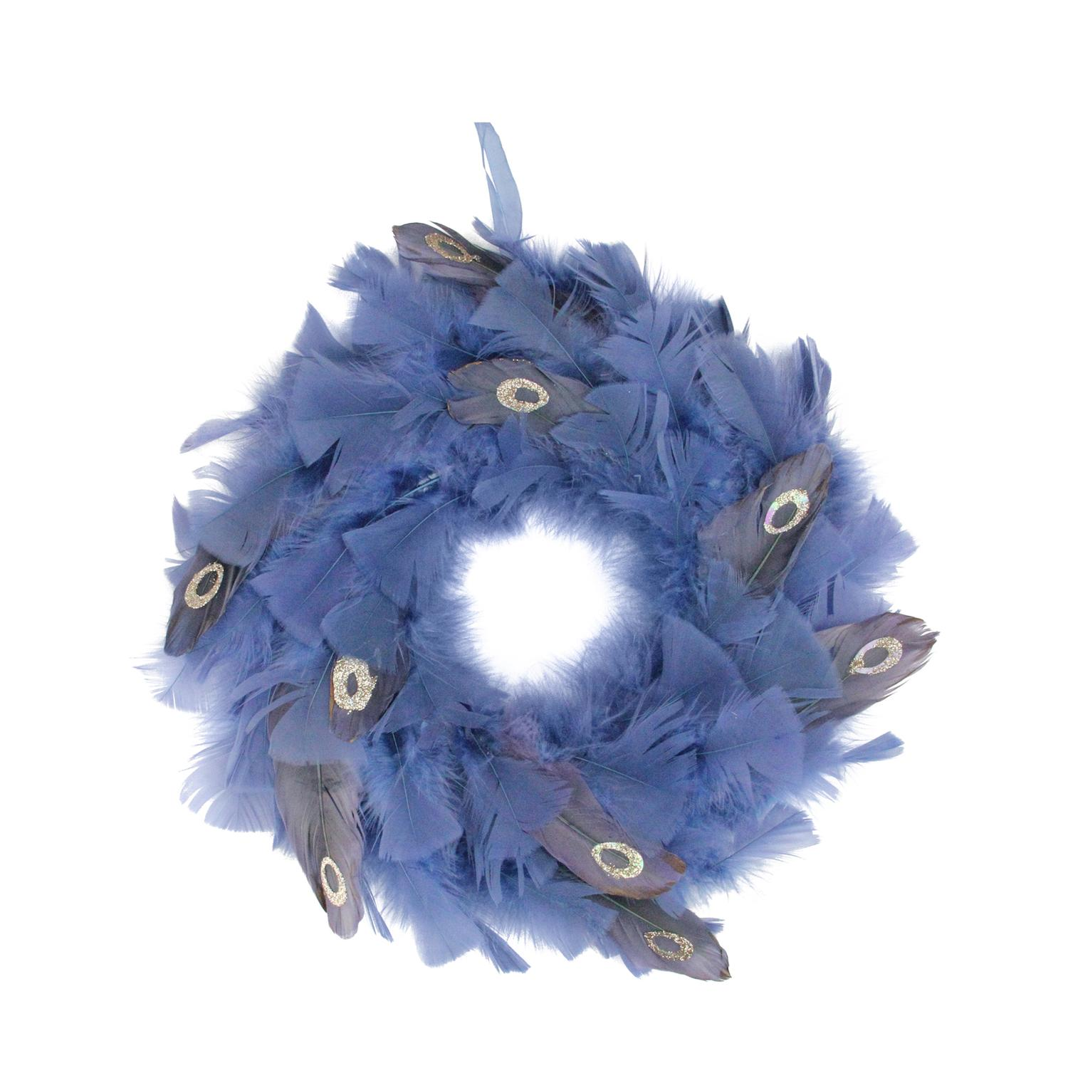 Northlight Regal Peacock Embellished Blue Feather Christmas Wreath
